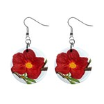 Deep Plumb Blossom Mini Button Earrings Front
