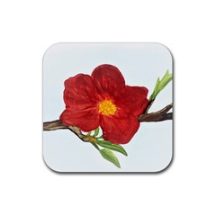Deep Plumb Blossom Rubber Coaster (square)  by lwdstudio