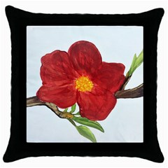 Deep Plumb Blossom Throw Pillow Case (black) by lwdstudio