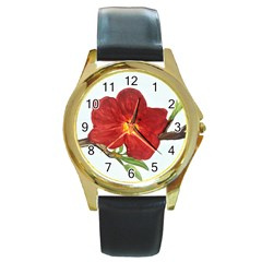 Deep Plumb Blossom Round Gold Metal Watch