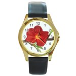 Deep Plumb Blossom Round Gold Metal Watch Front