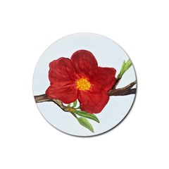 Deep Plumb Blossom Rubber Coaster (round)  by lwdstudio
