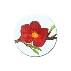 Deep Plumb Blossom Magnet 3  (round) by lwdstudio