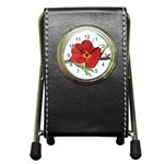 Deep Plumb Blossom Pen Holder Desk Clock Front