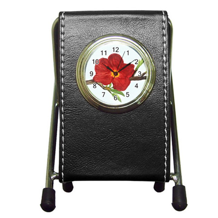 Deep Plumb Blossom Pen Holder Desk Clock