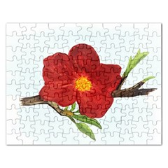 Deep Plumb Blossom Rectangular Jigsaw Puzzl by lwdstudio