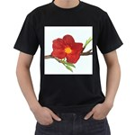Deep Plumb Blossom Men s T-Shirt (Black) (Two Sided) Front