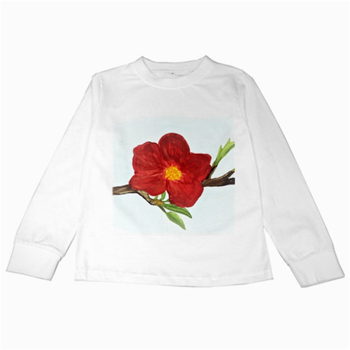Deep Plumb Blossom Kids Long Sleeve T-Shirts