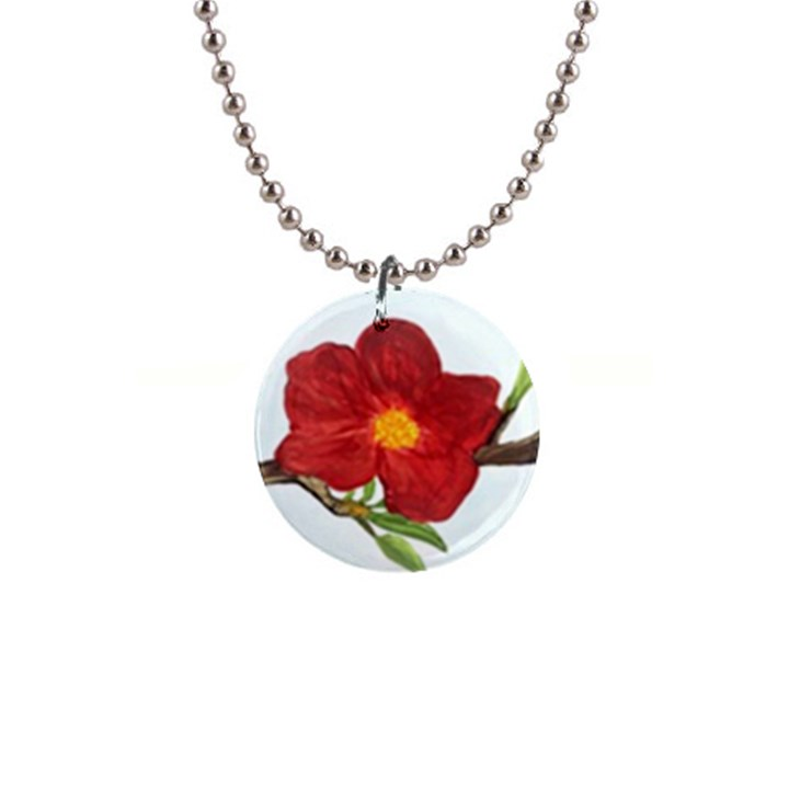 Deep Plumb Blossom 1  Button Necklace