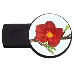 Deep Plumb Blossom Usb Flash Drive Round (4 Gb) by lwdstudio