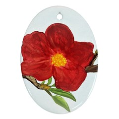Deep Plumb Blossom Oval Ornament (two Sides)