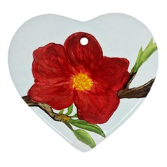 Deep Plumb Blossom Heart Ornament (two Sides) by lwdstudio
