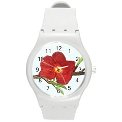 Deep Plumb Blossom Round Plastic Sport Watch (m) by lwdstudio
