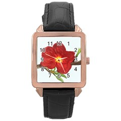 Deep Plumb Blossom Rose Gold Leather Watch