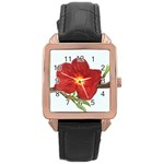 Deep Plumb Blossom Rose Gold Leather Watch  Front