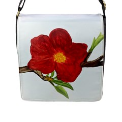 Deep Plumb Blossom Flap Closure Messenger Bag (l)