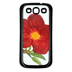 Deep Plumb Blossom Samsung Galaxy S3 Back Case (black) by lwdstudio