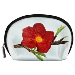 Deep Plumb Blossom Accessory Pouch (large) by lwdstudio