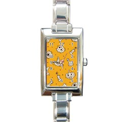 Funny Halloween Party Pattern Rectangle Italian Charm Watch