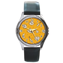 Funny Halloween Party Pattern Round Metal Watch