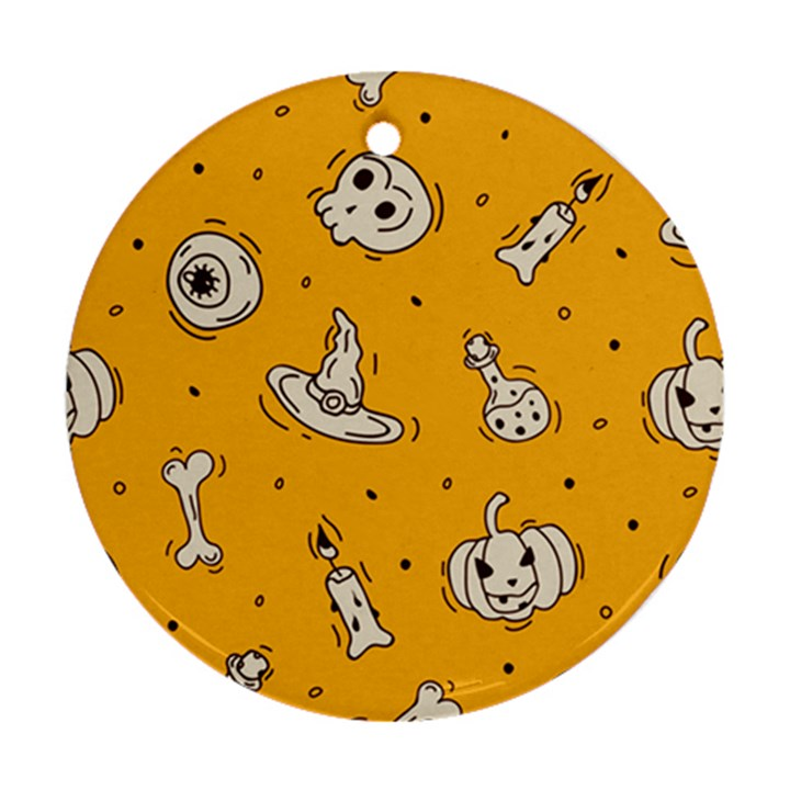 Funny Halloween Party Pattern Ornament (Round)
