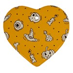 Funny Halloween Party Pattern Ornament (Heart) Front