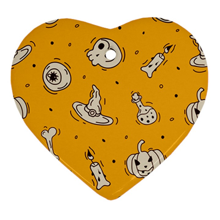 Funny Halloween Party Pattern Ornament (Heart)