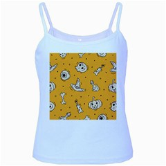 Funny Halloween Party Pattern Baby Blue Spaghetti Tank