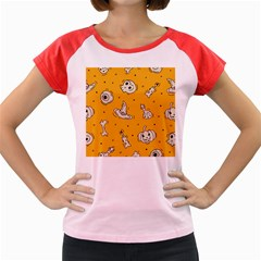 Funny Halloween Party Pattern Women s Cap Sleeve T Shirt