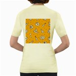 Funny Halloween Party Pattern Women s Yellow T-Shirt Back
