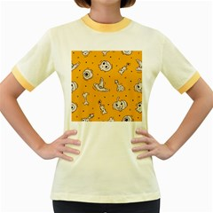 Funny Halloween Party Pattern Women s Fitted Ringer T Shirt