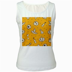 Funny Halloween Party Pattern Women s White Tank Top
