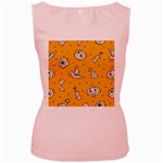 Funny Halloween Party Pattern Women s Pink Tank Top Front