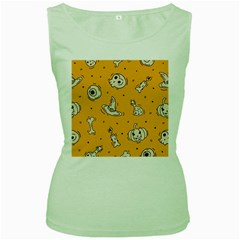 Funny Halloween Party Pattern Women s Green Tank Top