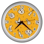 Funny Halloween Party Pattern Wall Clock (Silver) Front