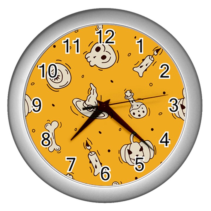 Funny Halloween Party Pattern Wall Clock (Silver)