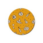Funny Halloween Party Pattern Rubber Coaster (Round)  Front