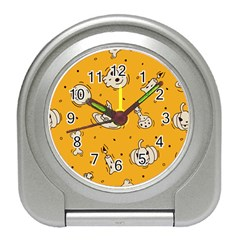 Funny Halloween Party Pattern Travel Alarm Clock