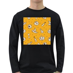 Funny Halloween Party Pattern Long Sleeve Dark T Shirt