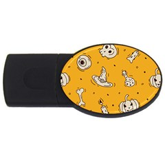 Funny Halloween Party Pattern Usb Flash Drive Oval (4 Gb)