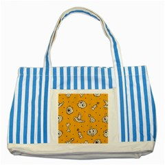 Funny Halloween Party Pattern Striped Blue Tote Bag