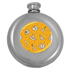 Funny Halloween Party Pattern Round Hip Flask (5 Oz)