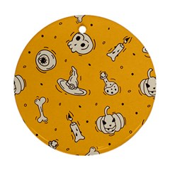 Funny Halloween Party Pattern Round Ornament (two Sides)