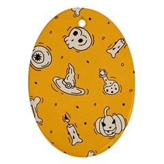 Funny Halloween Party Pattern Oval Ornament (two Sides)