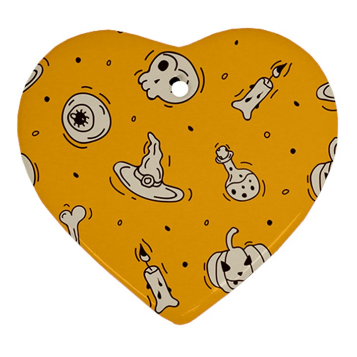 Funny Halloween Party Pattern Heart Ornament (Two Sides)