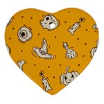 Funny Halloween Party Pattern Heart Ornament (Two Sides) Back