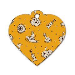 Funny Halloween Party Pattern Dog Tag Heart (one Side) by HalloweenParty