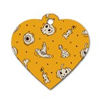 Funny Halloween Party Pattern Dog Tag Heart (One Side) Front