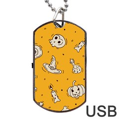 Funny Halloween Party Pattern Dog Tag Usb Flash (two Sides)