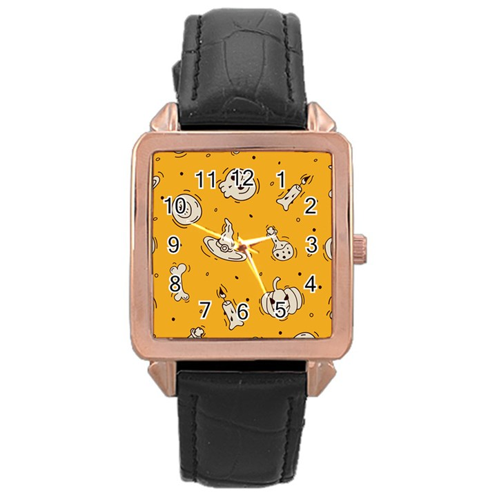 Funny Halloween Party Pattern Rose Gold Leather Watch